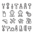tools icon set in thin line style vector image vector image