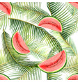 watercolor seamless pattern tropical leaves vector image