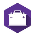 white car battery icon isolated with long shadow vector image vector image