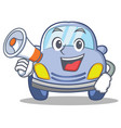 with megaphone cute car character cartoon vector image vector image