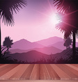 wooden deck looking out to tropical landscape 0704 vector image vector image