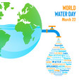 world water day planet earth with waterdrop vector image vector image