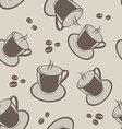 Seamless background with coffee cups and beans vector image