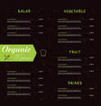 organic menu food in color vector image