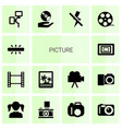 14 picture icons vector image vector image