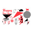 a festive set bulls for new year vector image
