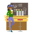 african-american woman drinking beer at the bar