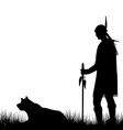 American Indian silhouette with dog vector image vector image
