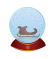 an isolated christmas toy with a sleigh inside of vector image vector image