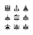 asian cities and counties landmarks icons set 3 vector image vector image
