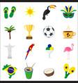 brazil set of cartoon flat icons vector image