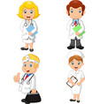 cartoon doctors and nurses collection set vector image