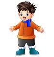 cartoon happy boy in winter clothes vector image vector image