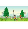 children with pet at park vector image vector image