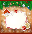 christmas background with fir and label vector image vector image