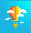 colofrul air balloon in blue sky with white paper vector image