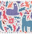 cute llama flat hand drawn seamless pattern vector image vector image