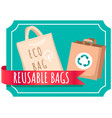 fabric eco-friendly reusable bag with products vector image