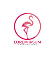 flamingo with leaf sign logo design vector image vector image