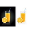 fresh orange juice glass vector image vector image