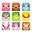 funny cartoon square animal faces app icons set vector image vector image