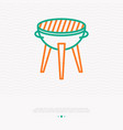 grill for barbecue thin line icon vector image