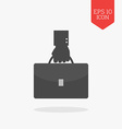 Hand holding briefcase icon Flat design gray color vector image vector image