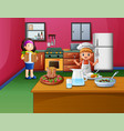 happy cooking with sister and brother vector image vector image