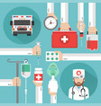 healthcare flat design with ambulance and doctor vector image vector image