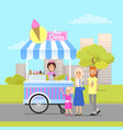 ice cream shop in modern city park colorful poster vector image vector image