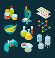 isometric icons set of pharmaceutical industry and vector image