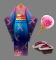 japanese woman kimono geisha dress yukata geta vector image