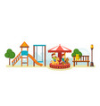 kids have fun in amusement park ride on carousel vector image vector image