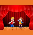 little boy and girl singing with microphone in his vector image vector image