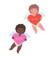 little cupids holding big hearts vector image