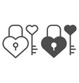 lock and key in heart shape line and glyph icon vector image vector image