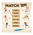 Matching game for sports vector image vector image