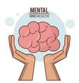 mental health hand with human brain design vector image