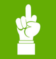 middle finger hand sign icon green vector image vector image