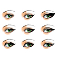 Nine different eyeliners set vector image