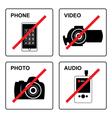No recording Signs vector image vector image