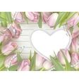 pink tulips and heart frame eps 10 vector image vector image