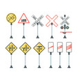 railway signs train barriers traffic light vector image