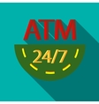 Round-the-clock ATM icon flat style vector image vector image