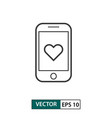 samartphone and love icon outline style isolated vector image vector image