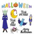 set of cartoon halloween characters and words vector image vector image