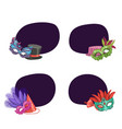 set stickers masks and party vector image vector image