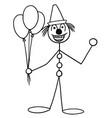 stickman cartoon of party circus clown buffoon vector image vector image