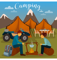 Summer Camp Man and Woman sitting by Fireplace vector image vector image