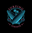 surfing summer logo estd 1986 design element can vector image vector image